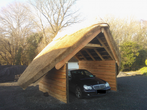Carport with a thatched roof.