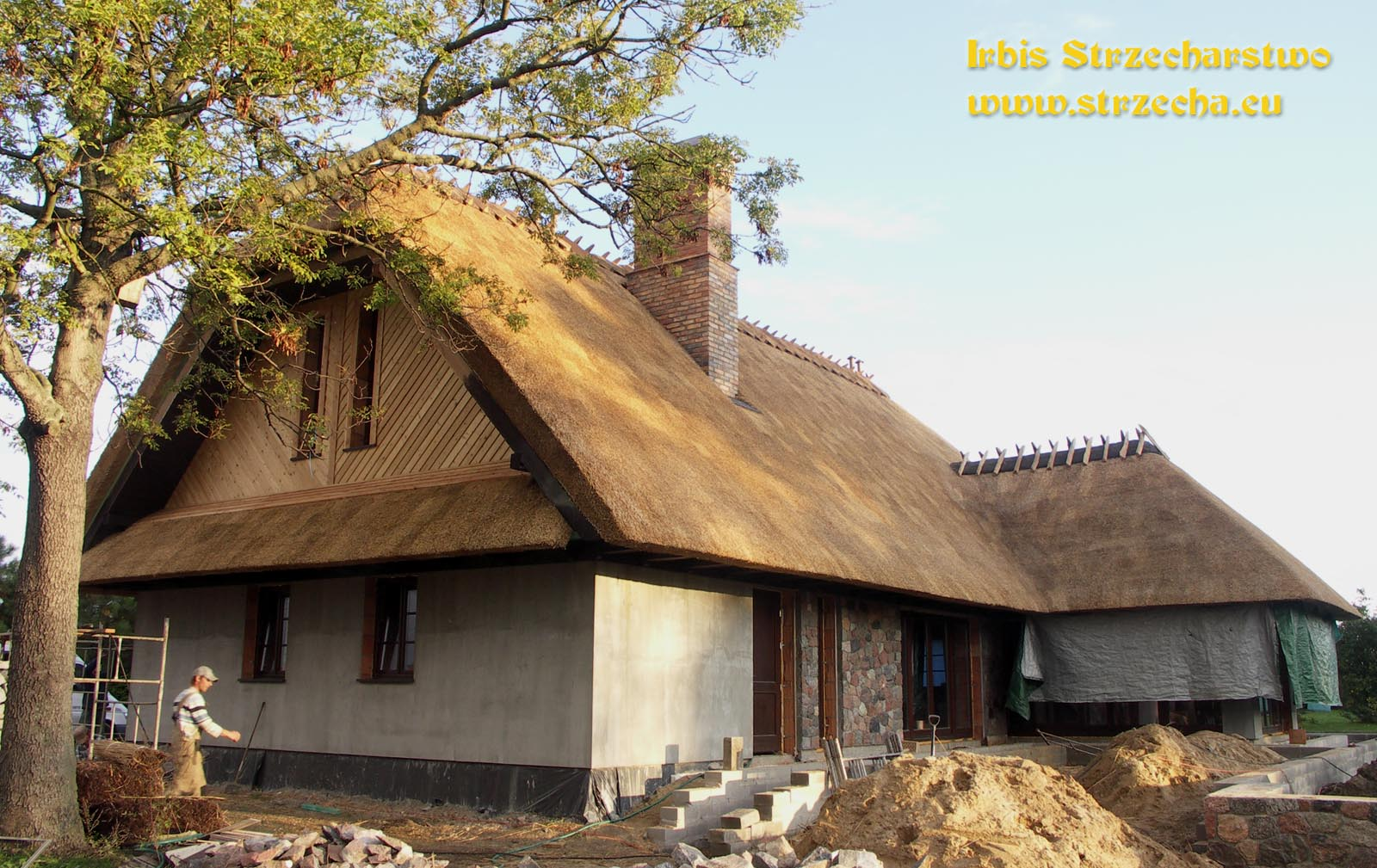 Build a beautiful house with a thatched roof.