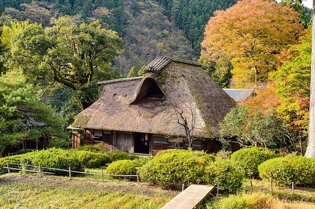 Traditional Thatch Roof house in Japan