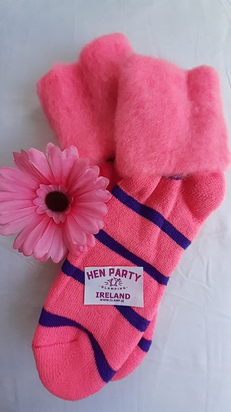 Lipstick Pink with Purple Stripes Glamping Bed Socks.jpg