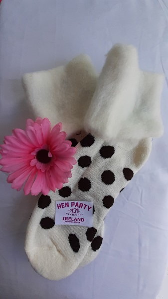 Winter White Brushed Wool Glamping Socks Featuring Chocolate Spots.jpg