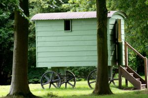 Shepherd hut in the woods.