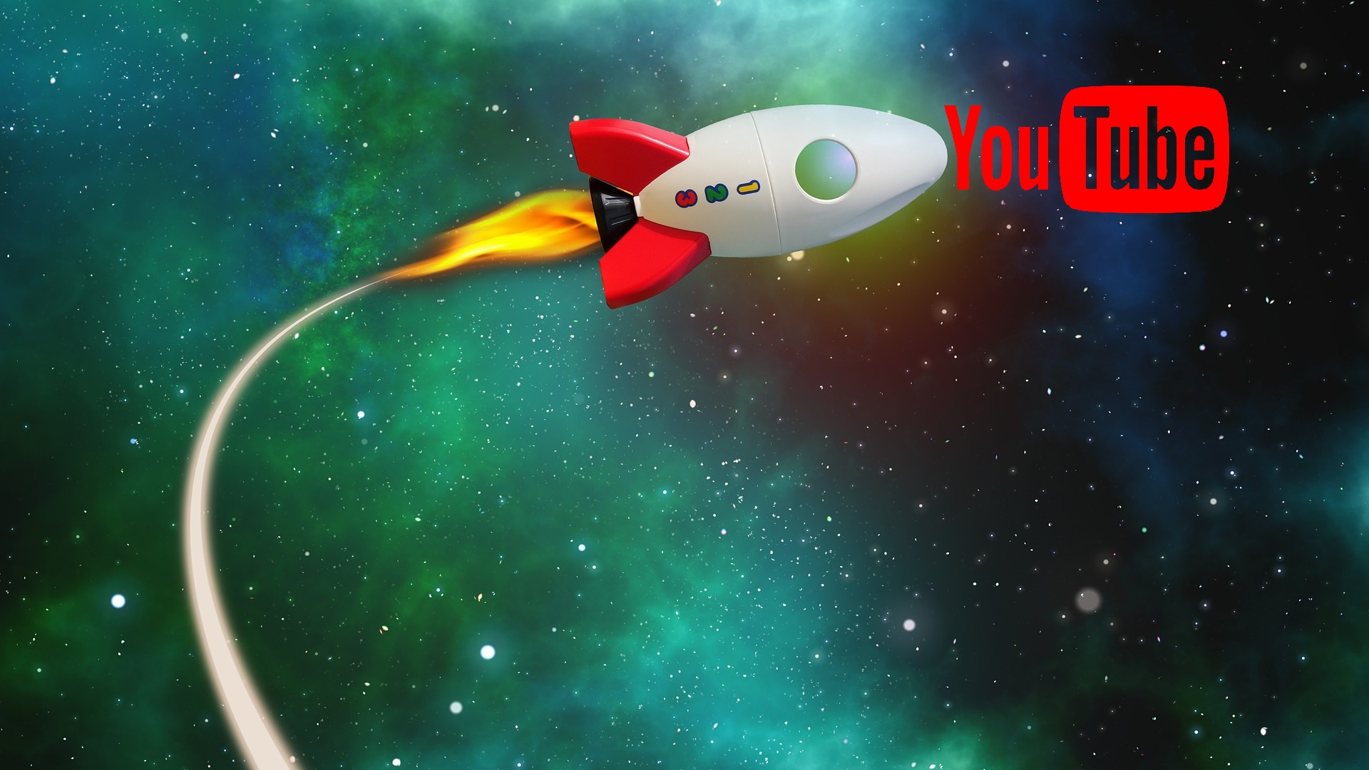 Rocket in Space with YouTube Logo