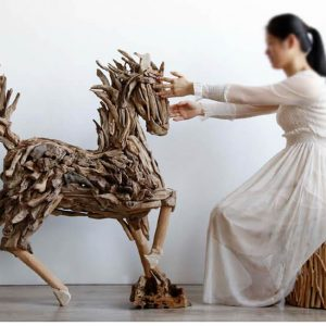 Driftwood horse animal sculptures